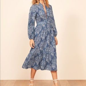 Reformation Delilah cotton dress with sleeves NWOT